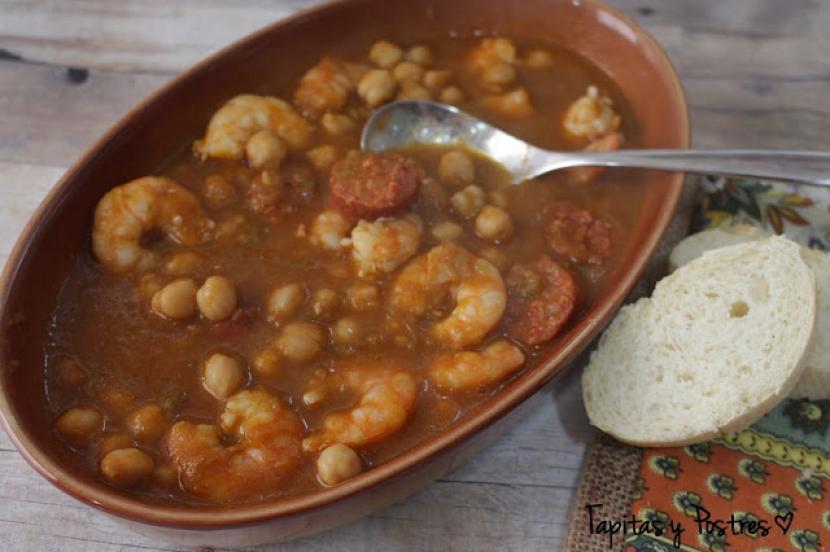 Garbanzos con langostinos y chorizo recetas f ciles reunidas for Cocinar garbanzos con chorizo